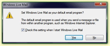 Automatic check that Windows Live Mail is the current default program