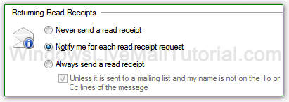 Configure returning read receipt settings in Windows Live Mail