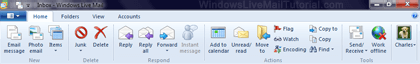 New ribbon in Windows Live Mail 2011 / 2012
