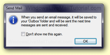 Sending email messages from offline Windows Live Mail