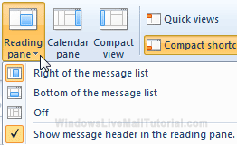 Show or hide message headers in the reading pane