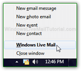 Windows Live Mail icon in system tray (notification area)