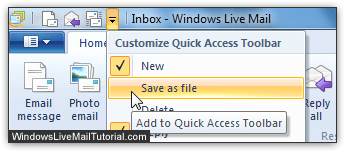 Add a command to Windows Live Mail's toolbar