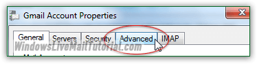 Advanced account settings in Windows Live Mail