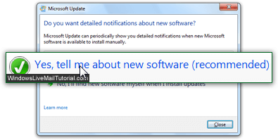 Automatically update Windows Live Mail