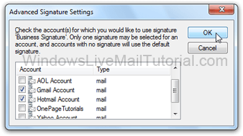 Configure advanced signature settings in Windows Live Mail