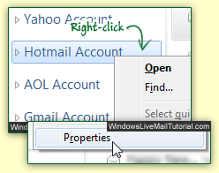 Email account properties in Windows Live Mail