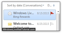 Flagged email messages in Windows Live Mail