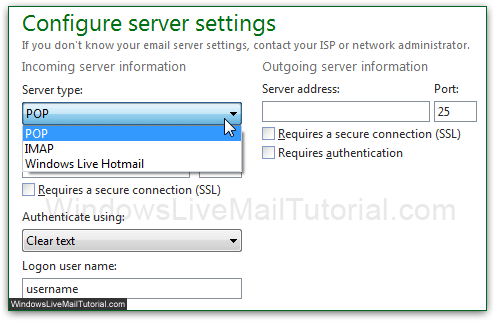 Incoming and outgoing server settings in Windows Live Mail