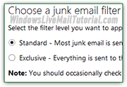 Junk mail filter settings in webmail providers