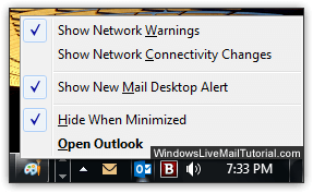 Outlook 2016 minimized to the tray