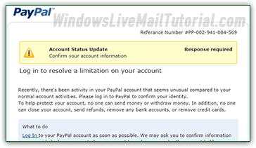 Phishing attempt blocked by Windows Live Mail
