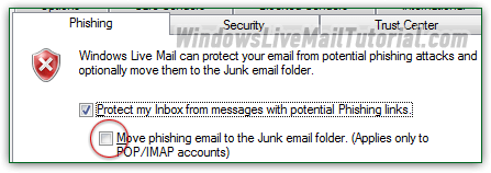 Phishing protection settings in Windows Live Mail