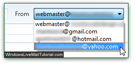 Pick Yahoo as from sender in Windows Live Mail
