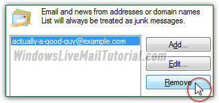 Remove an email address from your Blocked Senders list