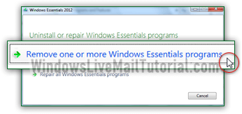 Remove one or more Windows Essentials programs