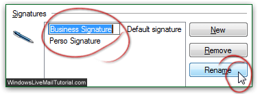 Rename or delete email signatures in Windows Live Mail