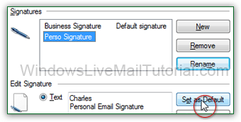 Set the default email signature in Windows Live Mail