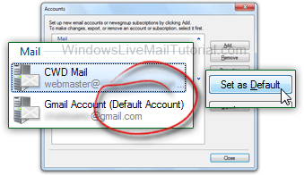 Set the default From email address in Windows Live Mail