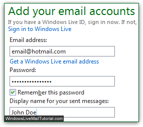 set up hotmail email address
