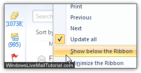 Show quick access toolbar below ribbon