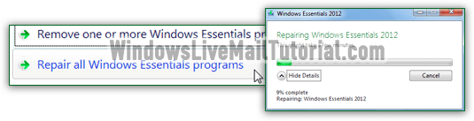 Windows Essentials 2012 repair tool fixing problems
