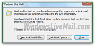 Windows Live Mail junk email warning