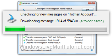 Windows Live Mail pending, current, and completed operations