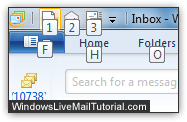 Windows Live Mail quick access toolbar