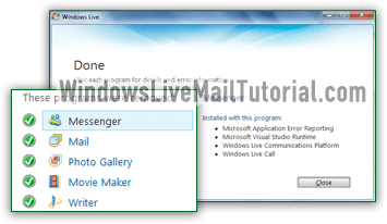 Windows Live Mail uninstalled from your computer