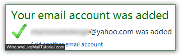 Yahoo email address successfully added to Windows Live Mail